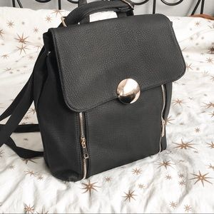 Matte Black Faux Leather Backpack